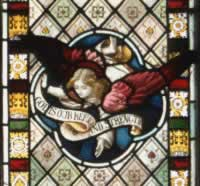 Stained Glass window of an angel in High Street Methodist Church