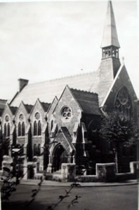View of Church with Steeple in the 1950s